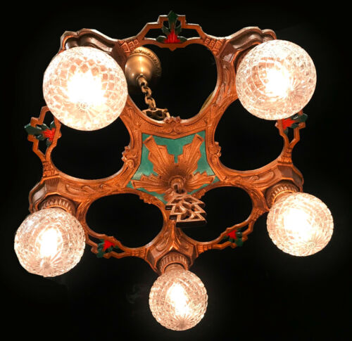 Antique Art Deco Polychrome 5 Arm Chandelier Ceiling Light- Restored & Rewired!