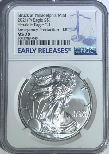 2021 (P) SILVER EAGLE NGC MS70 ER T-1 EMERGENCY PRODUCTION STRUCK PHILADELPHIA B <br/> IN STOCK COINS SHIP SAME DAY YOU PAY