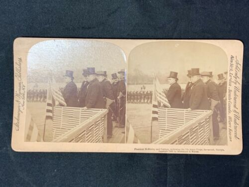 Spanish American War McKinley & cabinet 7th Army Corps Georgia stereoview card