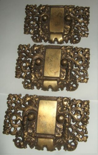 Antique Brass Drawer Pulls Rare Gorgeous (3)