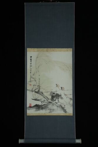 FEB068 CHINESE HANGING SCROLL FISHERMEN   HAND PAINTED SIGNED