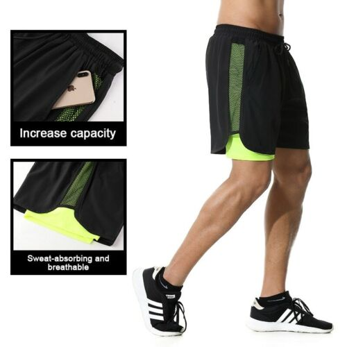 2 in 1 Double Layer Fitness Sport Shorts Running Jogging Gym Workout Men's Wear
