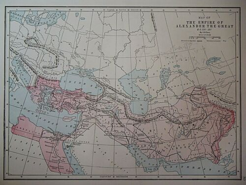 Vintage 1950 Historical Map ~ THE EMPIRE of ALEXANDER the GREAT Old & Authentic