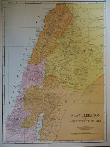 Vintage 1950 Atlas Map ~ ISRAEL - LEBANON & ADJOINING TERRITORIES ~  Authentic