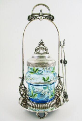 LILY of the VALLEY - BLUE banded JAR Victorian PICKLE CASTOR - MERIDEN #0611