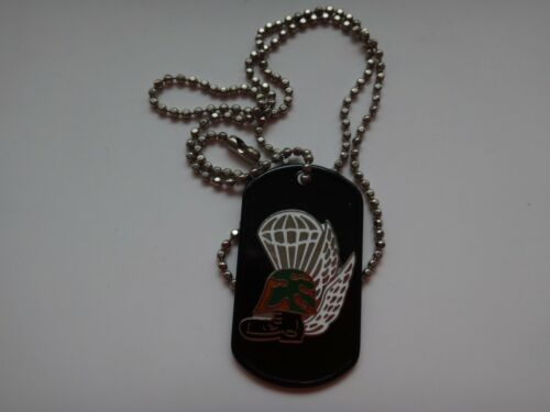 US Military PARACHUTE, WINGS, HELMET, BOOT Stainless Steel Dog Tag + Ball Chain Marine Corps - 66531