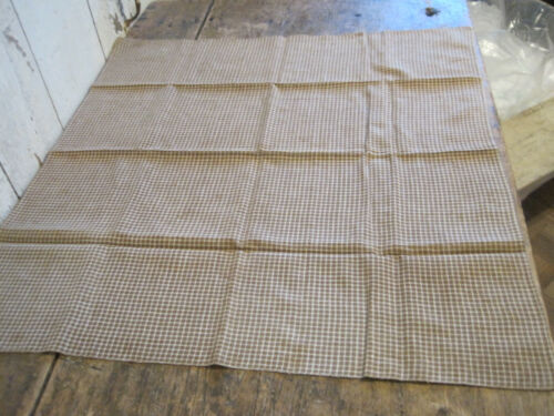 Old Primitive Brown and White Homespun Fabric Textile Table Runner Hand Stitched