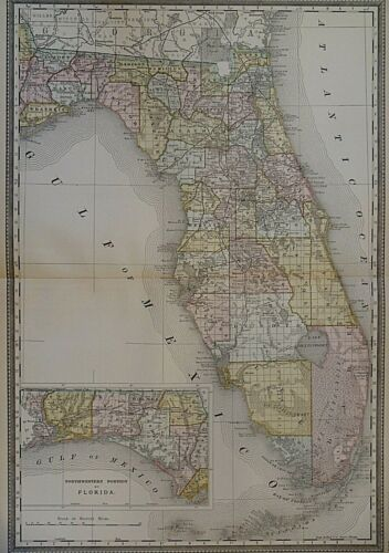 Vintage 1888 Railroad & County Map ~ FLORIDA ~ Old & Authentic ~ Free S&H