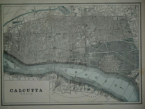 Vintage 1893 City Map ~ CALCUTTA, INDIA ~ Old & Authentic ~ Free S&H