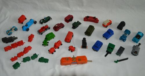 Lot figurines montables KINDER voiture train locomotive wagon Vintage 70 / 80