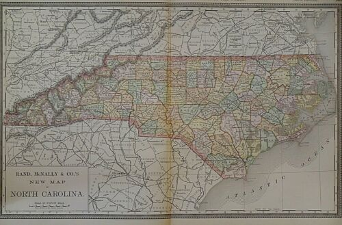Vintage 1888 Railroad & County Map ~ NORTH CAROLINA Old Authentic ~ Free S&H