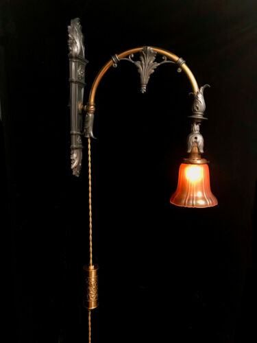 Rare Antique Victorian Adjustable Counterweighted Pull Down Wall Sconce Light