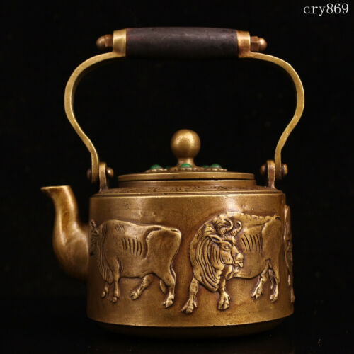 "7.6""collection old antique Tibet Handmade Inlaid with gems Cattle pattern teapot"