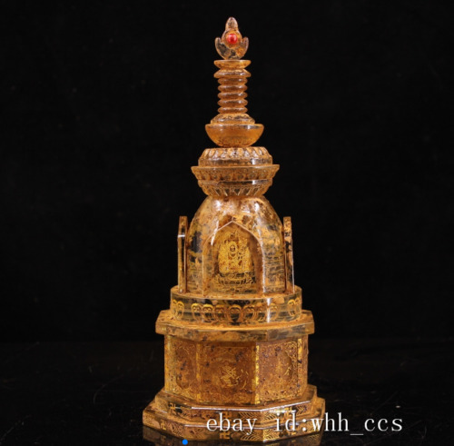 """11""""China antique Tibet Unearthed crystal outline in gold eight treasures stupa"""