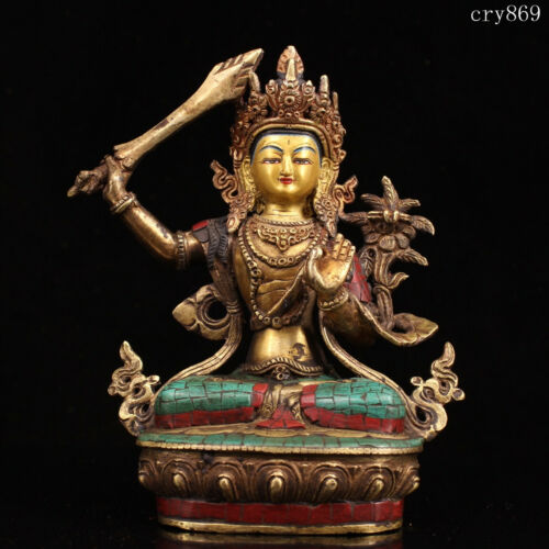 old antique Tibet Pure copper Inlaid with gems Tracing gold bodhisattva statue