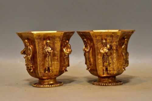 Chinese Rare Tang Dynasty Old   bronze  24k  gilt   people cup Wine glass Wine