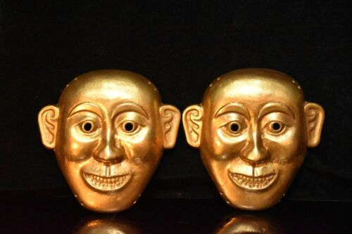 Chinese Rare Han Dynasty Collection  Old bronze 24k gilt mask