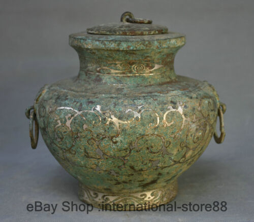 """7.2"""" Old China Bronze Ware Silver Dynasty Palace 2 Ear Dragon drinking vessel"""