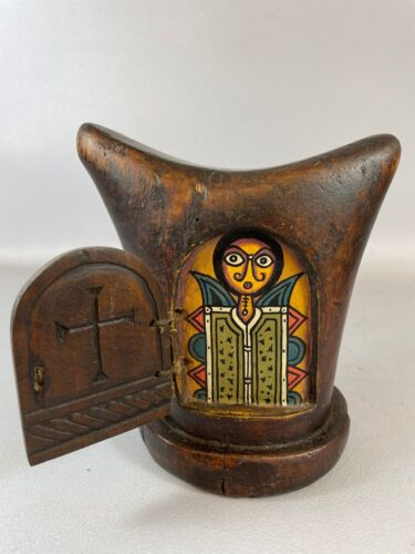 210506 - Tribal used African Ethiopian Gurage Headrest with icon - Ethiopia
