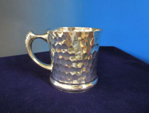 Antique Silverplate Handled Cup or Mug All Over Hammered Design No Monograms