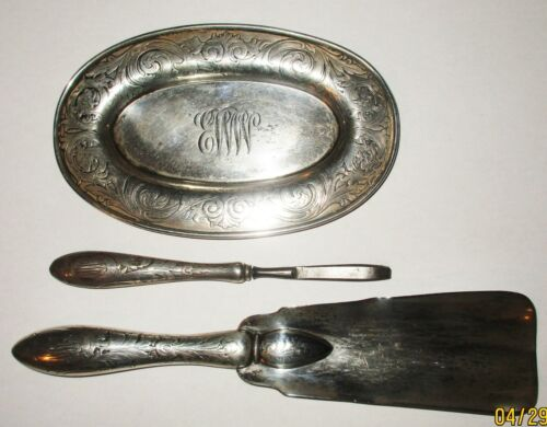 Gorham Bigelow Kennard Co Sterling Silver 3 Dresser Set Shoe Horn, tray, tweezer