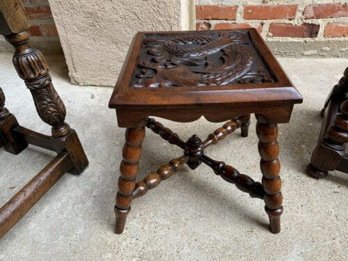 Antique English Carved Bench Stool End Table Square Display Stand Renaissance
