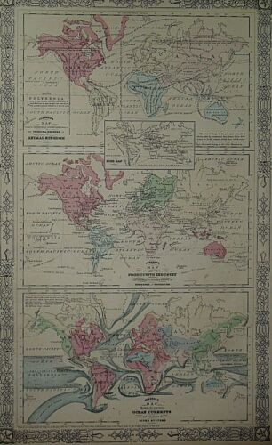 Vintage 1866 World Map - BIRDS - INDUSTRY - OCEAN CURRENTS ~ Old & Authentic