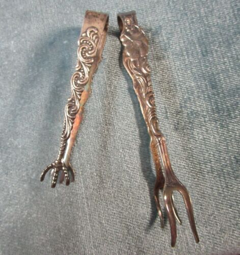 Sweden Silverplate 2 Sugar Tongs Excellent Condition Beautiful Detail