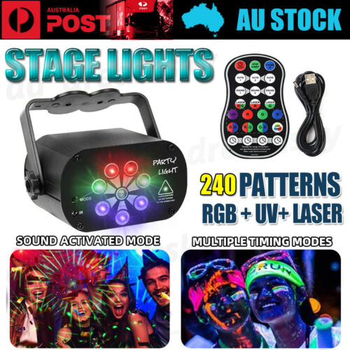 240 Pattern Laser Projector Disco Lights DJ Effect LED Stage Lighting Party Club