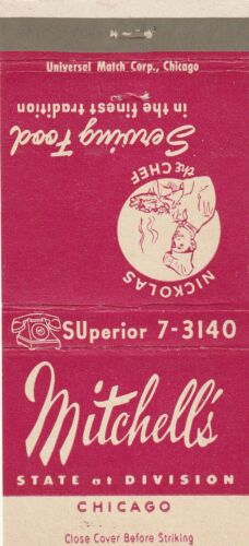 VINTAGE MATCHBOOK COVER. MITCHELL'S CHICAGO, IL.
