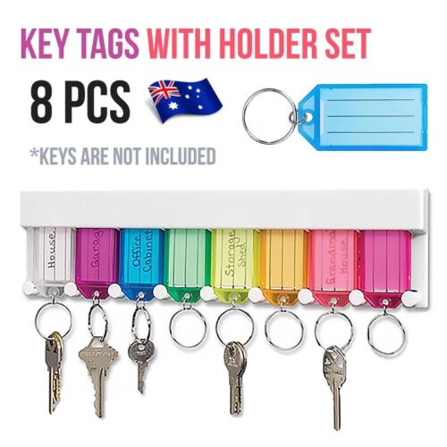 8Pcs Plastic Key Tags with Holder Tags Ring Screws & adhesive included Set AU