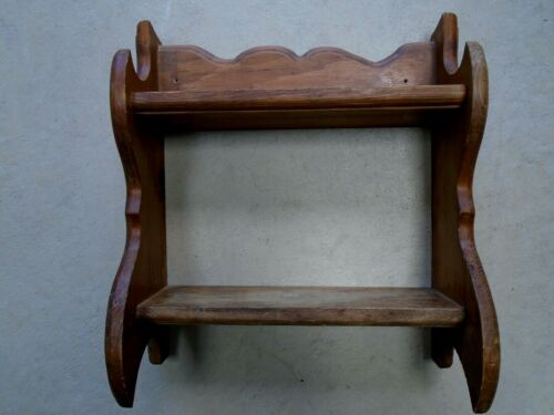Vintage Wooden 2 Shelf wall hanging stand Farmhouse Rustic primitive ornate