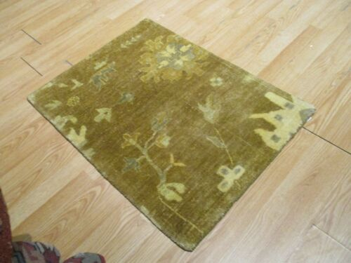2x3 Modern Agra ABC Collection Vegetable Dye Handmade-knotted Wool Rug #1