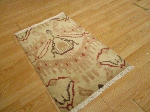 2x3 Modern Agra ABC Collection Vegetable Dye Handmade-knotted Wool Rug #16