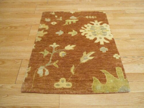 2x3 Modern Agra ABC Collection Vegetable Dye Handmade-knotted Wool Rug #30