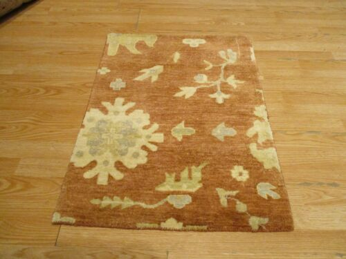 2x3 Modern Agra ABC Collection Vegetable Dye Handmade-knotted Wool Rug #24