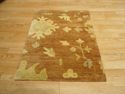 2x3 Modern Agra ABC Collection Vegetable Dye Handmade-knotted Wool Rug #26