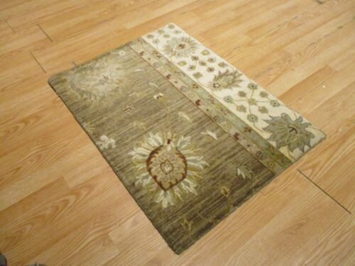 2x3 Modern Agra ABC Collection Vegetable Dye Handmade-knotted Wool Rug #12