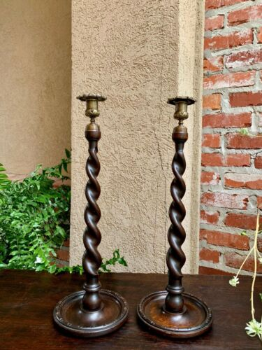 Antique English Barley Twist Carved Oak Candlestick TALL PAIR Brass