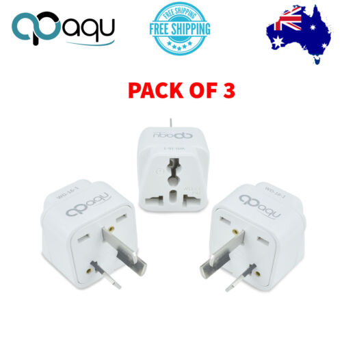 Universal Travel Adapter converter Power wall Plug charger UK to AU 3pin 3 Pack