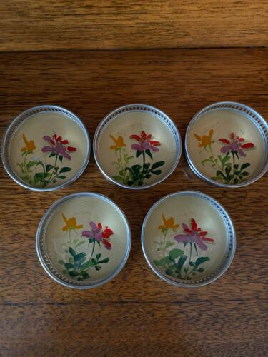 Vintage European Silver Plated Pierced Edge Drinks Coasters Floral Painted