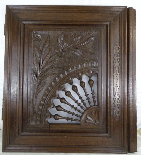 Antique French Large Carved Wood Door Wall Panel Solid Oak - Breton Brittany