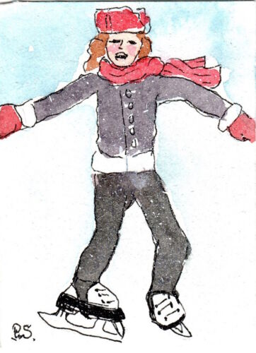 ACEO Ice Skater weak ankles WC + pen Illustration Naive Art Penny StewArt