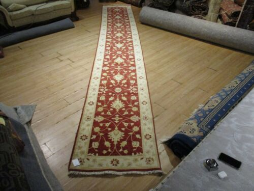 """19'4"""" FEET BEAUTIFUL VERY UNIQUE RUNNER  HANDMADE-KNOTTED WOOL RUG 585661"""