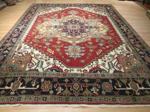 10x14 MUSEUM GORGEOUS SERAPI VEGETABLE DYE HANDMADE-KNOTTED WOOL RUG 580526