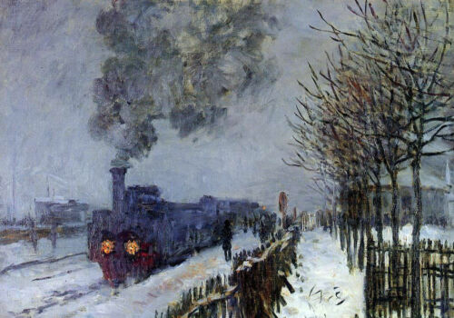 Oil painting Claude Monet Train in the Snow, the Locomotive in winter landscape