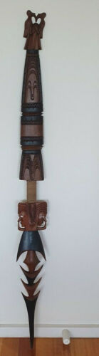 Papua New Guinea  Wood Carving - Totem Mask Spear -  155cm