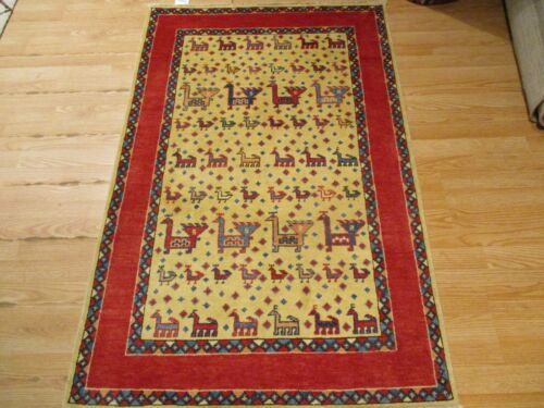 3x5 VERY UNIQUE TRIBAL CAUCASIAN VEGETABLE DYE HANDMADE-KNOTTED WOOL RUG 585954