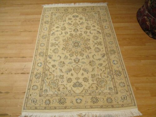 3x5 VERY UNIQUE FINE NAIN DESIGN HANDMADE-KNOTTED WOOL RUG 582925