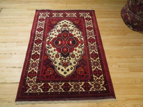 3x5 VERY UNIQUE FINE AGHAN DESIGN HANDMADE-KNOTTED WOOL RUG 581209